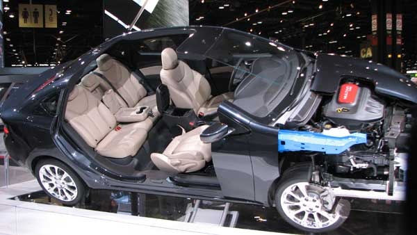 A 2013 Dodge Dart shows the interior and engine with a cut-away view at the 2012 Chicago Auto Show, located at McCormick Place in Chicago on Monday, Feb. 13, 2012.  <span class=meta>(Joanna Wesoly, ABC 7 Chicago)</span>