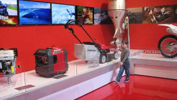 A little boy takes a walk through Honda&#39;s history; a display which holds the first Honda boat motor to the latest Race Car, at the 2012 Chicago Auto Show, located at McCormick Place in Chicago on Monday, Feb. 13, 2012. <span class=meta>(Joanna Wesoly, ABC 7 Chicago)</span>