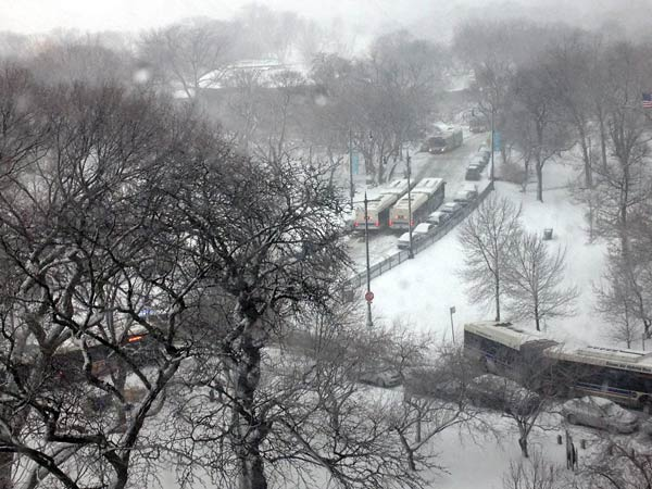 Buses stuck at Stockton Dr/Dickens on Feb., 26, 2013. Send your snow photos to USeeIt@abc7chicago.com