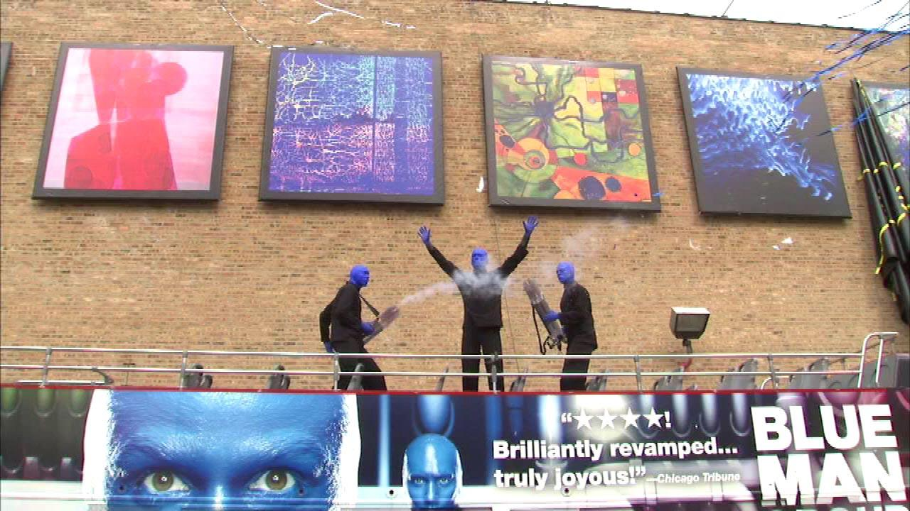 The Blue Man Group revealed the winning works in its 2013 art competition on an exterior wall of the Briar Street Theater.
