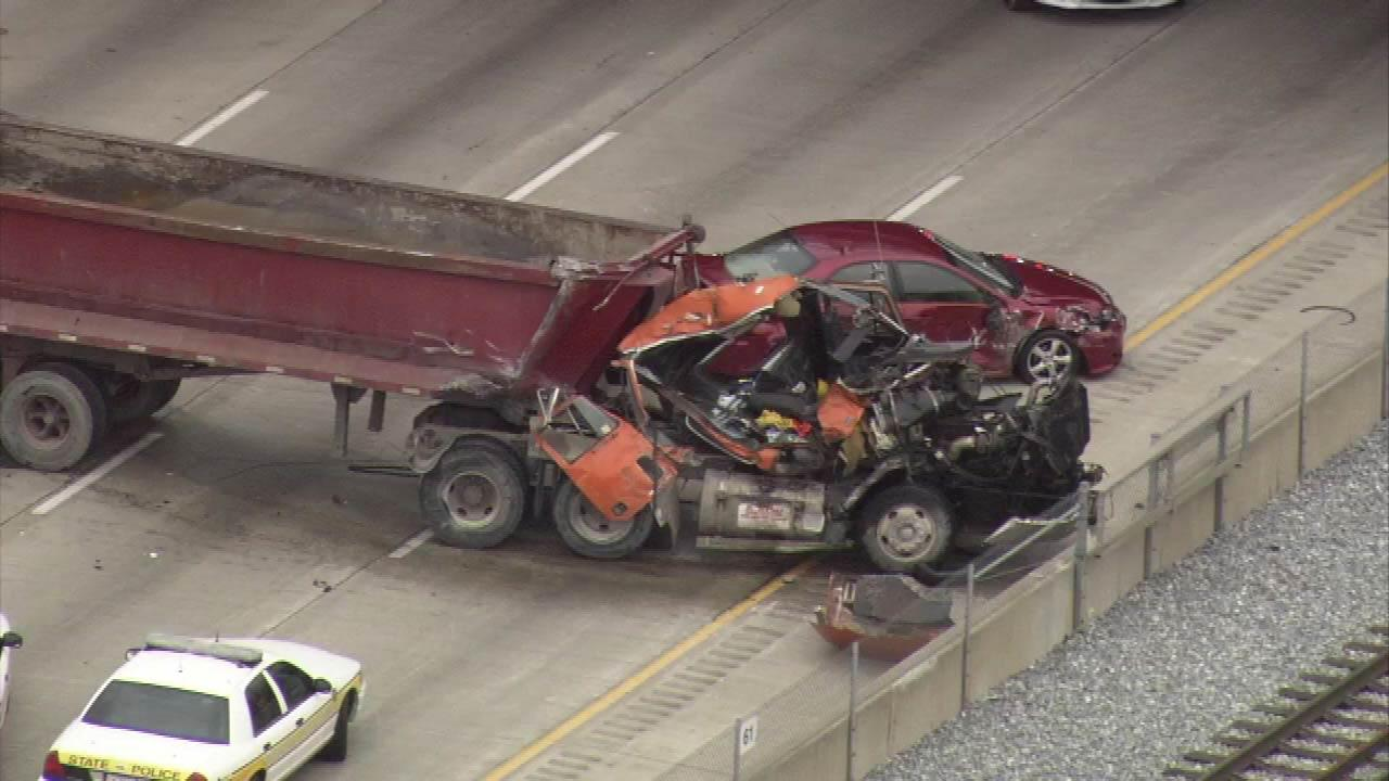 One person was killed in a multi-vehicle crash involving a semi-truck on the Dan Ryan near 91st Street.