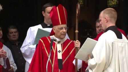 Cardinal Francis George presided over the blessing of the palms before mass at Holy Name Cathedral Sunday morning.