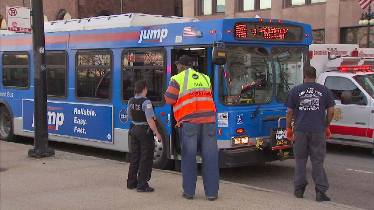Several people were hurt in a hit-and-run bus crash in Chicagos Loop Saturday night.