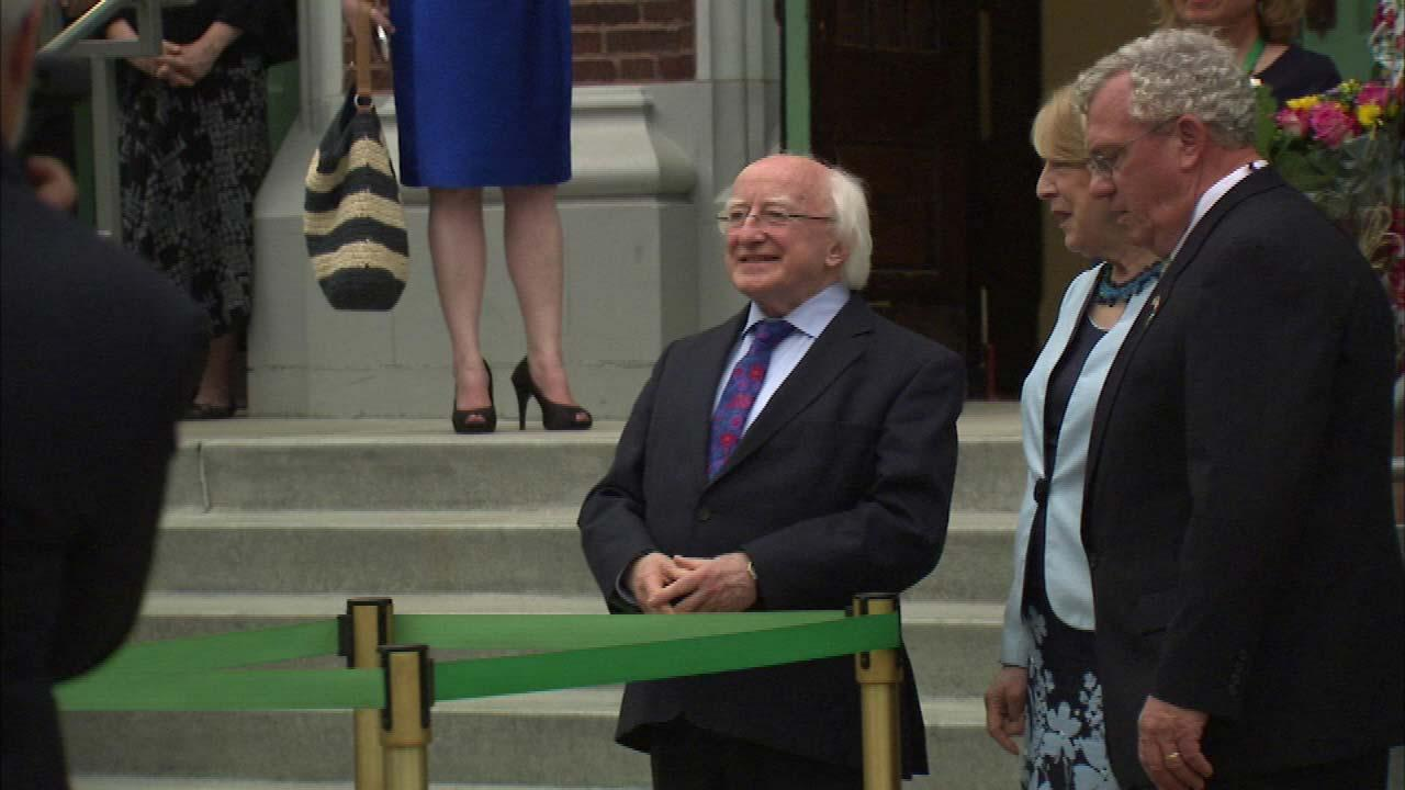 Bag pipes played as President of Ireland, Michael Higgins, and First Lady Sabrina arrived at the Irish American Heritage Center Sunday afternoon.