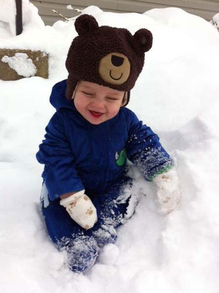 Aiden&#39;s 7 months old and is loving all the snow. <span class=meta>(WLS Photo&#47; viewer-submitted)</span>