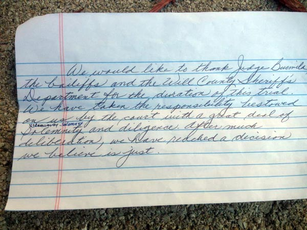 Photo of the Drew Peterson jurors' handwritten...