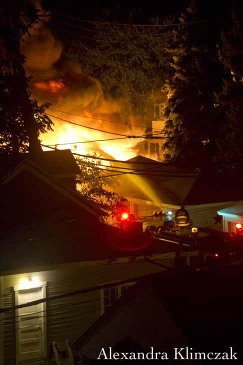 This image submitted via Useeit shows firefighters battling garage fires in Chicago&#39;s Andersonville neighborhood, Wednesday, August 8, 2012. <span class=meta>(Photo&#47;Alexandra Klimczak)</span>