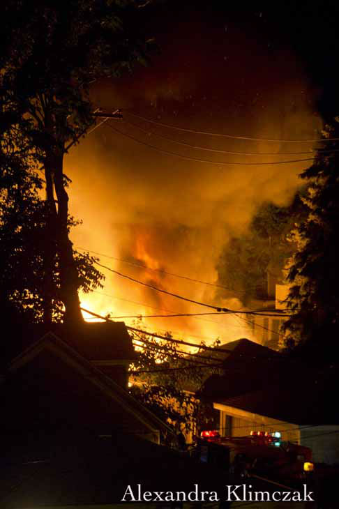 "<div class=""meta ""><span class=""caption-text "">This image submitted via Useeit shows firefighters battling garage fires in Chicago's Andersonville neighborhood, Wednesday, August 8, 2012. (Photo/Alexandra Klimczak)</span></div>"