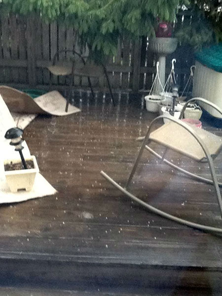 Hail photograph by viewer from Schaumburg, Illinois. Photos from ABC7 viewers submitted to useeit@abc7chicago.com.