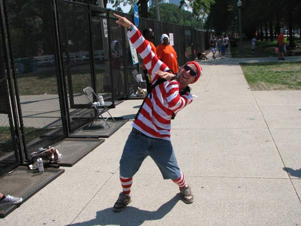 "<div class=""meta ""><span class=""caption-text "">Lollapalooza festival visitor Scott Conrad, dressed in red and white stripes, poses for a photo on August 3, 2012.  (Evan Peterson/ ABC 7 Chicago)</span></div>"