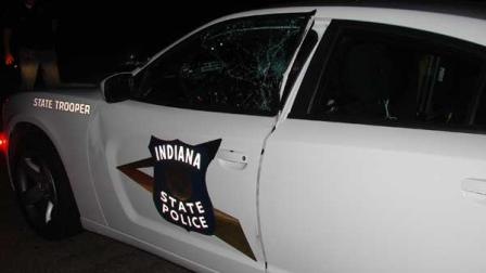 Trooper Jeff Councils police Dodge Charger was damaged in the collision
