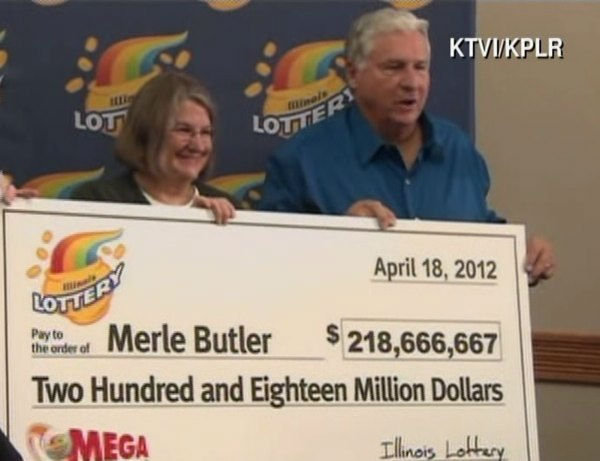 "<div class=""meta ""><span class=""caption-text "">Merle Butler, 65, and his wife Patricia, 62, accepted the giant check Wednesday morning, April 18, 2012. (KTVI/KPLR)</span></div>"