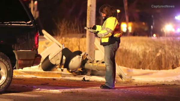 Two people were killed when a Metra train struck a car in Round Lake Park, Ill. A man&#39;s body was found in the wreckage and a girl&#39;s body was found hours later in a snow bank. Police believe she was thrown from the car. <span class=meta>(WLS Photo)</span>