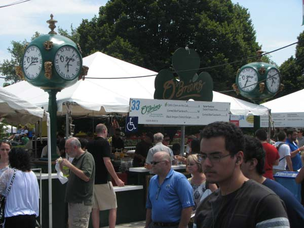 O&#39;Briens, one of the more decorated Taste booths, serves popular Taste snacks such as corn on the cob and sweet potato fries for hungry customers on July 12, 2012.  <span class=meta>(Evan Peterson&#47;ABC 7 Chicago.com)</span>