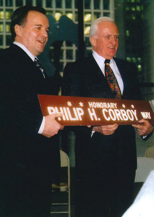 "<div class=""meta image-caption""><div class=""origin-logo origin-image ""><span></span></div><span class=""caption-text"">Lawyer Philip Corboy with former Chicago Mayor Richard M. Daley. Corboy died at age 87 at his home Monday morning, June 11, 2012, with his wife Mary Dempsey at his side, a news release from his law firm said. (Photo/Courtesy of Corboy & Demetrio)</span></div>"