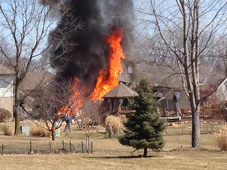 A home was leveled by an explosion Monday afternoon in far south suburban Joliet. <span class=meta>(ABC7 Viewer Steve Hughes)</span>