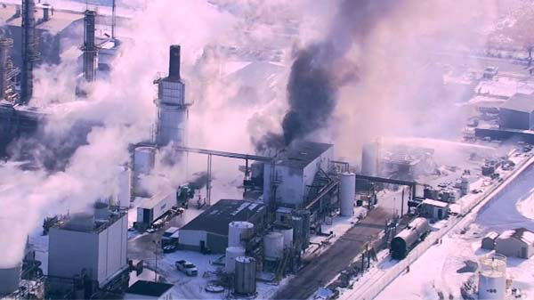 Flames shot out of an Alsip refinery after reports of an explosion. <span class=meta>(WLS Photo)</span>