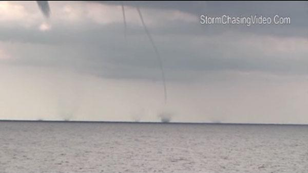 Water spouts on Lake Michigan near Wisconsin