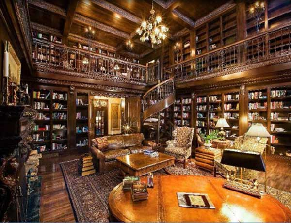 Elaborate two-story library, designed to mirror that of the historic Vanderbilt mansion, includes thousands of first-edition books. <span class=meta>(www.hilcoreal.com)</span>