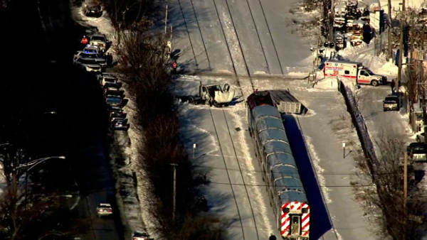 No one was seriously hurt when a Metra train struck a truck on the city?s Northwest Side at Avondale and Sayre in Norwood Park.  <span class=meta>(WLS Photo)</span>