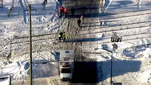 "<div class=""meta ""><span class=""caption-text "">No one was seriously hurt when a Metra train struck a truck on the city?s Northwest Side at Avondale and Sayre in Norwood Park.  (WLS Photo)</span></div>"