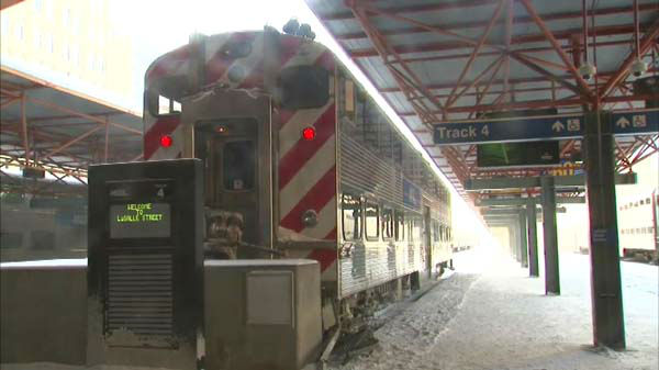 A Metra train struck a bumping post while pulling into the LaSalle Street station on January 6, 2014.  <span class=meta>(WLS Photo)</span>
