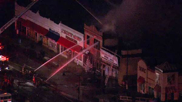 No injuries reported in a fire at a two-story building in Berwyn that closed Cermak Road between Austin and Ridgeland Avenue on Thursday morning.