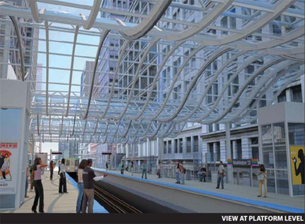 New, proposed CTA station at Washington and Wabash in Loop <span class=meta>(CDOT)</span>
