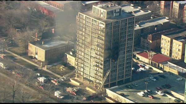 "<div class=""meta ""><span class=""caption-text ""> Fire crews responded Tuesday to the scene of a fire burning on the eighth floor of a South Shore high-rise building.</span></div>"
