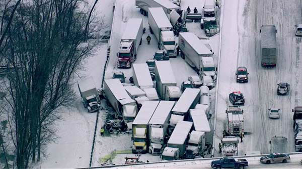 At least 15 semis and &#39;&#39;too many cars to count&#39;&#39; were involved in a fatal crash on I-94 near Michigan City, Ind., on January 23, 2014, officials said.  <span class=meta>(WLS Photo)</span>