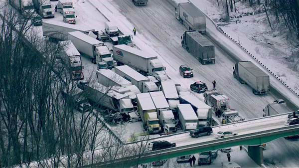 "<div class=""meta ""><span class=""caption-text "">At least 15 semis and ''too many cars to count'' were involved in a fatal crash on I-94 near Michigan City, Ind., on January 23, 2014, officials said.  (WLS Photo)</span></div>"