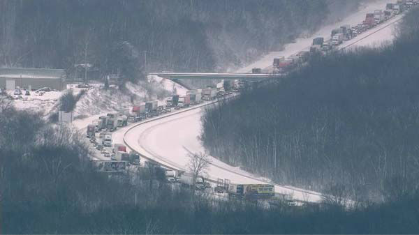"<div class=""meta image-caption""><div class=""origin-logo origin-image ""><span></span></div><span class=""caption-text"">At least 15 semis and ''too many cars to count'' were involved in a fatal crash on I-94 near Michigan City, Ind., on January 23, 2014, officials said.  (WLS Photo)</span></div>"