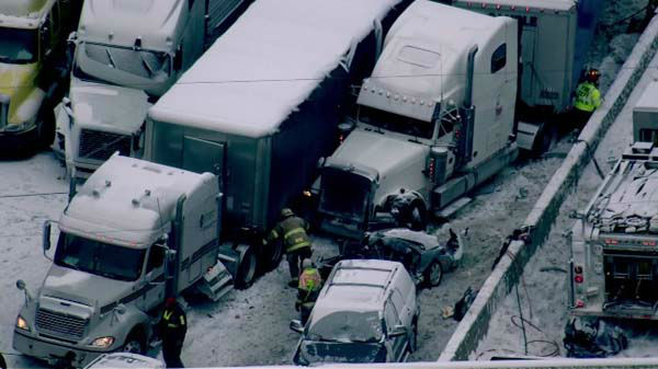 "<div class=""meta ""><span class=""caption-text "">Seven semis and ''too many cars to count'' were involved in a fatal crash on I-94 near Michigan City, Ind., on January 23, 2014, officials said.  (WLS Photo)</span></div>"