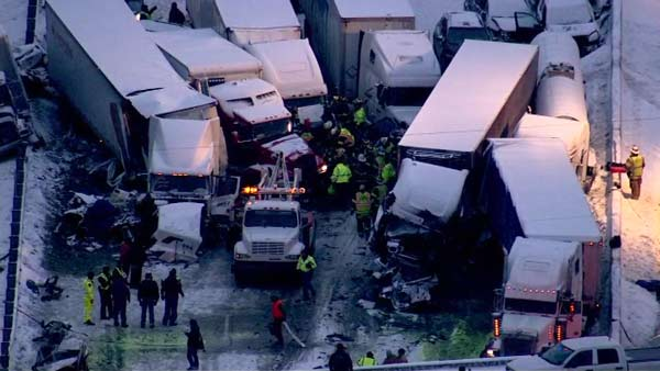 Seven semis and &#39;&#39;too many cars to count&#39;&#39; were involved in a fatal crash on I-94 near Michigan City, Ind., on January 23, 2014, officials said.  <span class=meta>(WLS Photo)</span>