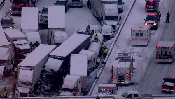"<div class=""meta image-caption""><div class=""origin-logo origin-image ""><span></span></div><span class=""caption-text"">Seven semis and ''too many cars to count'' were involved in a fatal crash on I-94 near Michigan City, Ind., on January 23, 2014, officials said.  (WLS Photo)</span></div>"