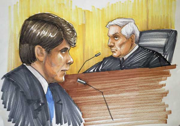 This Dec. 7, 2011 file courtroom sketch by artist Tom Gianni shows former Illinois Gov. Rod Blagojevich, left, speaking before U.S. District Judge James Zagel at his sentencing hearing at federal court in Chicago. Sketch artists have been drawing legal proceedings since the Salem witch trials to the recent corruption trial of impeached Gov. Rod Blagojevich, but their ranks are thinning as states lift courtroom camera ban. Just 14 states still have prohibitions in place, and three of those states, Minnesota, South Dakota and Illinois, recently moved to end theirs. <span class=meta>(AP Photo&#47;Tom Gianni, File)</span>