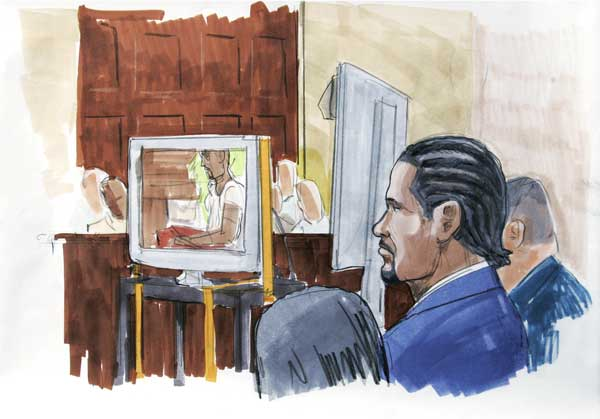 This May 20, 2008 file courtroom sketch by artist Lou Chukman shows R&#38;B singer R. Kelly, right, watching in court as prosecutors played the sex tape at the center of his child pornography trial in open court in Chicago. Artists have drawing legal proceedings since the Salem witch trials to the recent corruption trial of impeached Gov. Rod Blagojevich, but their ranks are thinning as states lift courtroom camera bans. Just 14 states still have prohibitions in place, and three of those states, Minnesota, South Dakota and Illinois, recently moved to end theirs.  <span class=meta>(AP Photo&#47;Lou Chukman, File)</span>