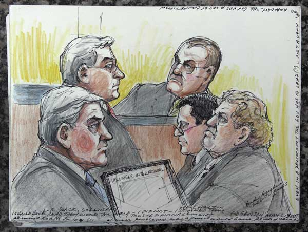 This May 14, 2008 file courtroom sketch provided by artist Andy Austin shows a sample of her work along with her notes from the recent federal corruption trial of Conrad Black, lower left, in Chicago. Austin has worked as a court artist for 40 years. Artists have drawing legal proceedings since the Salem witch trials to the recent corruption trial of impeached Gov. Rod Blagojevich, but their ranks are thinning as states lift courtroom camera bans. Just 14 states still have prohibitions in place, and three of those states, Minnesota, South Dakota and Illinois, recently moved to end theirs.  <span class=meta>(AP Photo&#47;Andy Austin, File)</span>