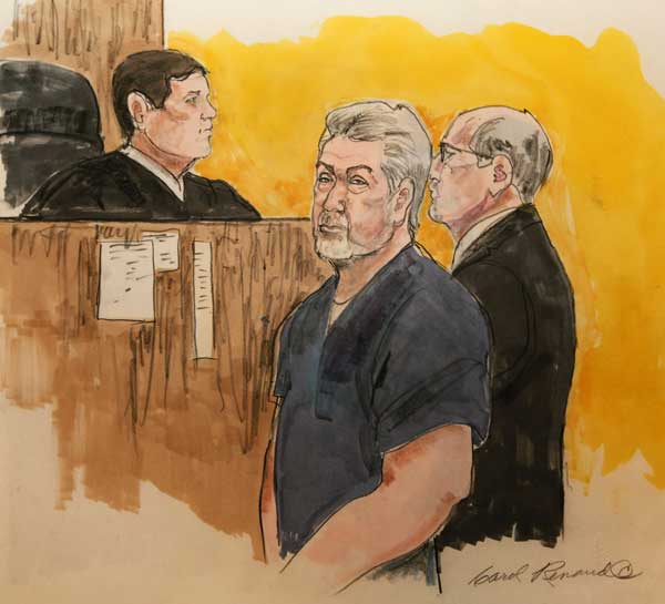 This 2009 sketch of Bolingbrook police officer Drew Peterson by courtroom artist Carol Renaud is seen at her Chicago home on Thursday, Jan. 26, 2012. Artists have drawing legal proceedings since the Salem witch trials to the recent corruption trial of impeached Gov. Rod Blagojevich, but their ranks are thinning as states lift courtroom camera ban. Just 14 states still have prohibitions in place, and three of those states, Minnesota, South Dakota and Illinois, recently moved to end theirs. <span class=meta>(AP Photo&#47;Carol Renaud)</span>