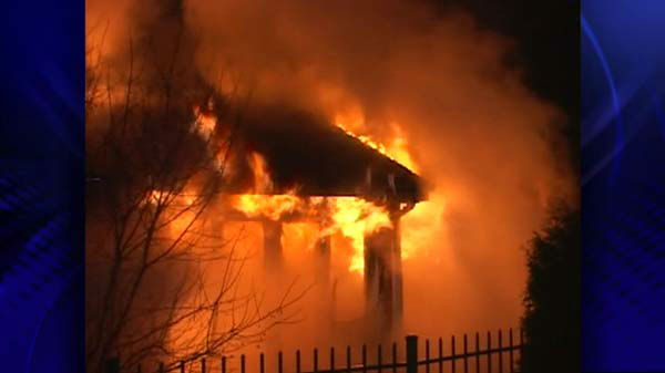 "<div class=""meta image-caption""><div class=""origin-logo origin-image ""><span></span></div><span class=""caption-text"">No one was inside the home in the 5800-block of Barrington Road in Morris, Ill., in Grundy County when it exploded and caught fire. The damage is extensive. </span></div>"