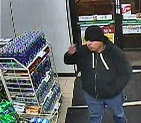 Chicago police say the man shown in surveillance photos is responsible for several store robberies.