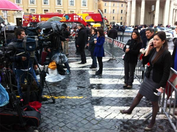 "Photo by Alan Krashesky (@KrasheskyABC7): Our ""media row"" live shot line-up outside #Vatican for #popewatch on ABC7."