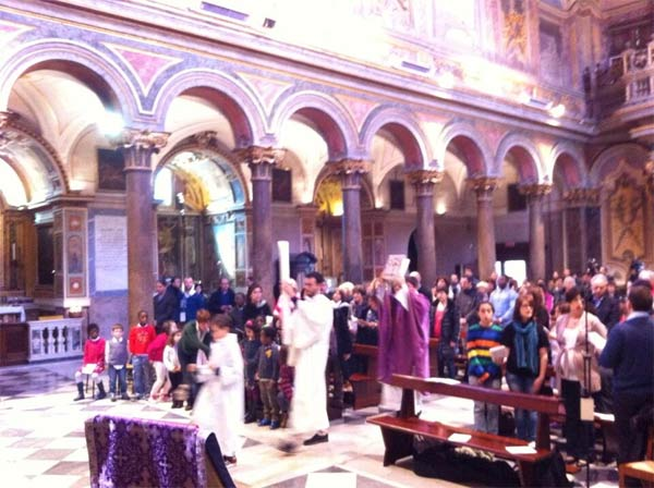 "<div class=""meta ""><span class=""caption-text "">Photo by Alan Krashesky (@KrasheskyABC7): Mass at St. Bartholomeo Church w/Card. #George #Rome</span></div>"