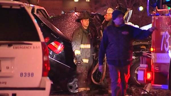 That van exited the Dan Ryan and struck a black Lexus near 87th and South Lafayette Avenue on Chicago?s South Side around 1 a.m. <span class=meta>(WLS Photo)</span>