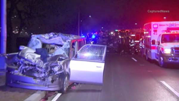 Two people were killed in an early morning crash on southbound Lake Shore Drive. <span class=meta>(WLS Photo)</span>