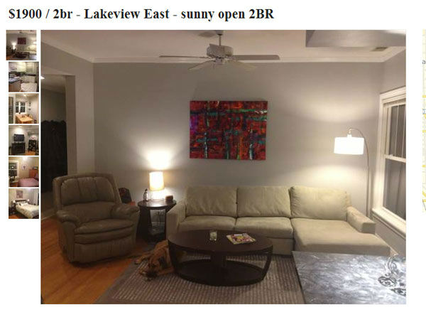 The &#36;1,900-a-month apartment, which is available on June 15, is, the owner writes, &#39;&#39;Pet friendly!!&#39;&#39; <span class=meta>(http:&#47;&#47;chicago.craigslist.org)</span>