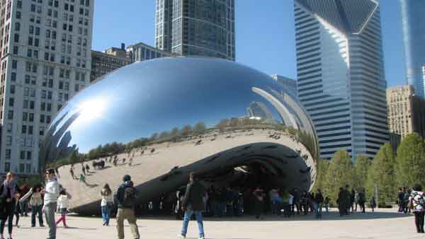 "<div class=""meta ""><span class=""caption-text "">The main attraction to everyone in Chicago is the sculpture nicknamed, ""The Bean."" Made by Indian-American artist Anish Kapoor between 2004 and 2006, this idea was chosen to be designed instead of others. Inspired by liquid mercury, this piece of art is made up of 168 stainless steel plates molded together. Viewers can see themselves and the skyline in a distorted view. Cloudgate can be seen in movies such as, ""The Break-Up,"" ""Source Code,"" and ""The Vow."" The Bean is located at 201 E. Randolph St.  (Joanna Wesoly/ABC 7 Chicago)</span></div>"