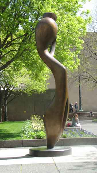Standing in the North Garden of Chicago&#39;s Art Institute, this bronze sculpture called &#39;Large Interior Form&#39; represents a human figure. Made by Sir Henry Moore in 1983, the 16.5 foot figure tries to create &#34;organisms that must be complete in themselves.&#34; This sculpture is located at 111 S. Michigan Ave. <span class=meta>(Joanna Wesoly&#47;ABC 7 Chicago)</span>