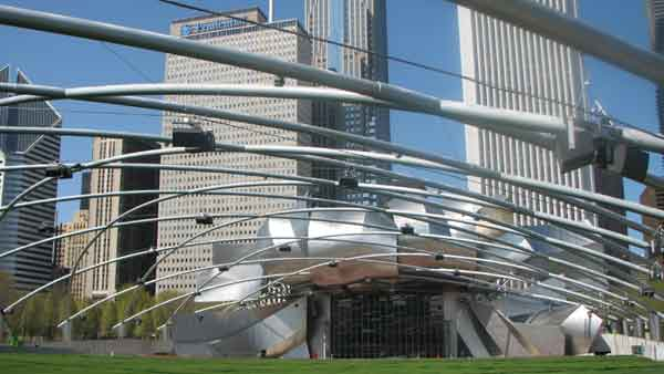 Located in Millennium Park, the Jay Pritzker Pavilion was also designed by Frank Gehry and opened in 2004. Having the capacity to hold 11,000 people, the Pavilion hosts performances such as rock concerts, dances, opera and physical activities. Winning awards for being &#34;one of the most accessible parks in the world,&#34; the Pavilion still hosts the only free remaining outdoor classical music festival. The pavilion is located at 201 E. Randolph.  <span class=meta>(Joanna Wesoly&#47;ABC 7 Chicago)</span>