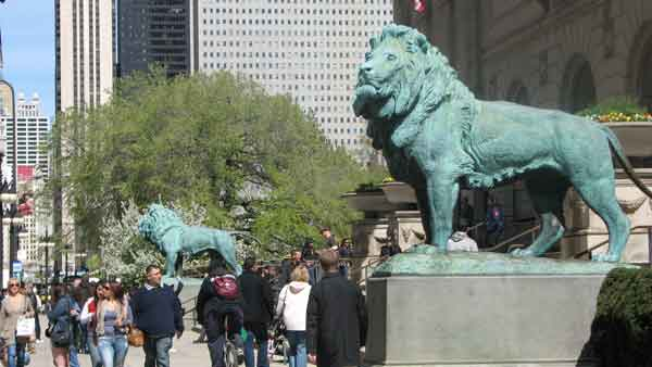 "<div class=""meta image-caption""><div class=""origin-logo origin-image ""><span></span></div><span class=""caption-text"">The two lions that stand guard at the entrance of the Art Institute are some of the most recognizable pieces of work in Chicago. Sculpted by Edward Kearney, the unnamed lions were originally a gift from Mrs. Henry Field who had them recast in bronze. Standing guard since 1894, these two lions get dressed up for some holidays and major sports events. These lions are located at 111 S. Michigan Ave. (Joanna Wesoly/ABC 7 Chicago)</span></div>"